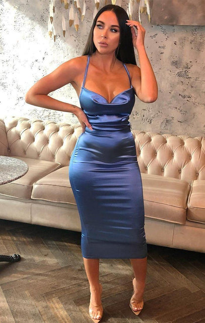 Blue Satin Cowl Neck Bodycon Midi Dress - Clarence