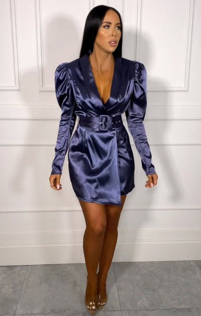 Blue Satin Puff Sleeve Belted Blazer Dress - Shawn