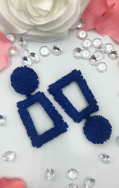 Blue Square Textured Earring - Cleo