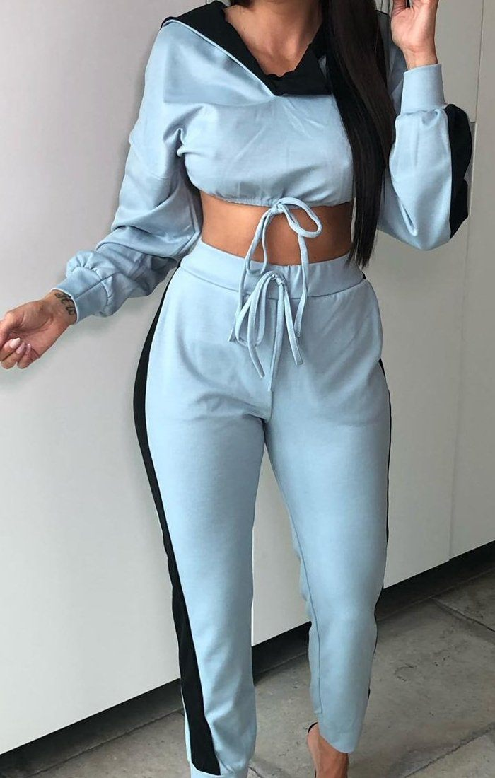 Blue Stripe Collar Loungewear Set - Destiny