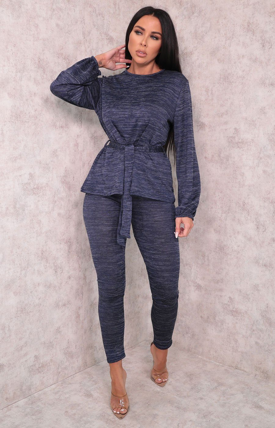 Blue Tie Front Cuffed Sleeve Leggings Loungewear Set - Eliza