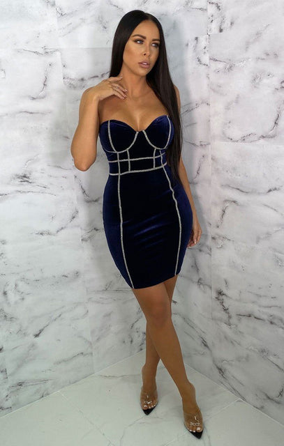 Blue Velvet Diamante Corset Bodycon Mini Dress - Andre