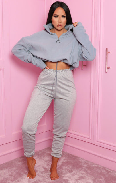 Blue Zip Up Cropped Fleece Sweatshirt - Julissa
