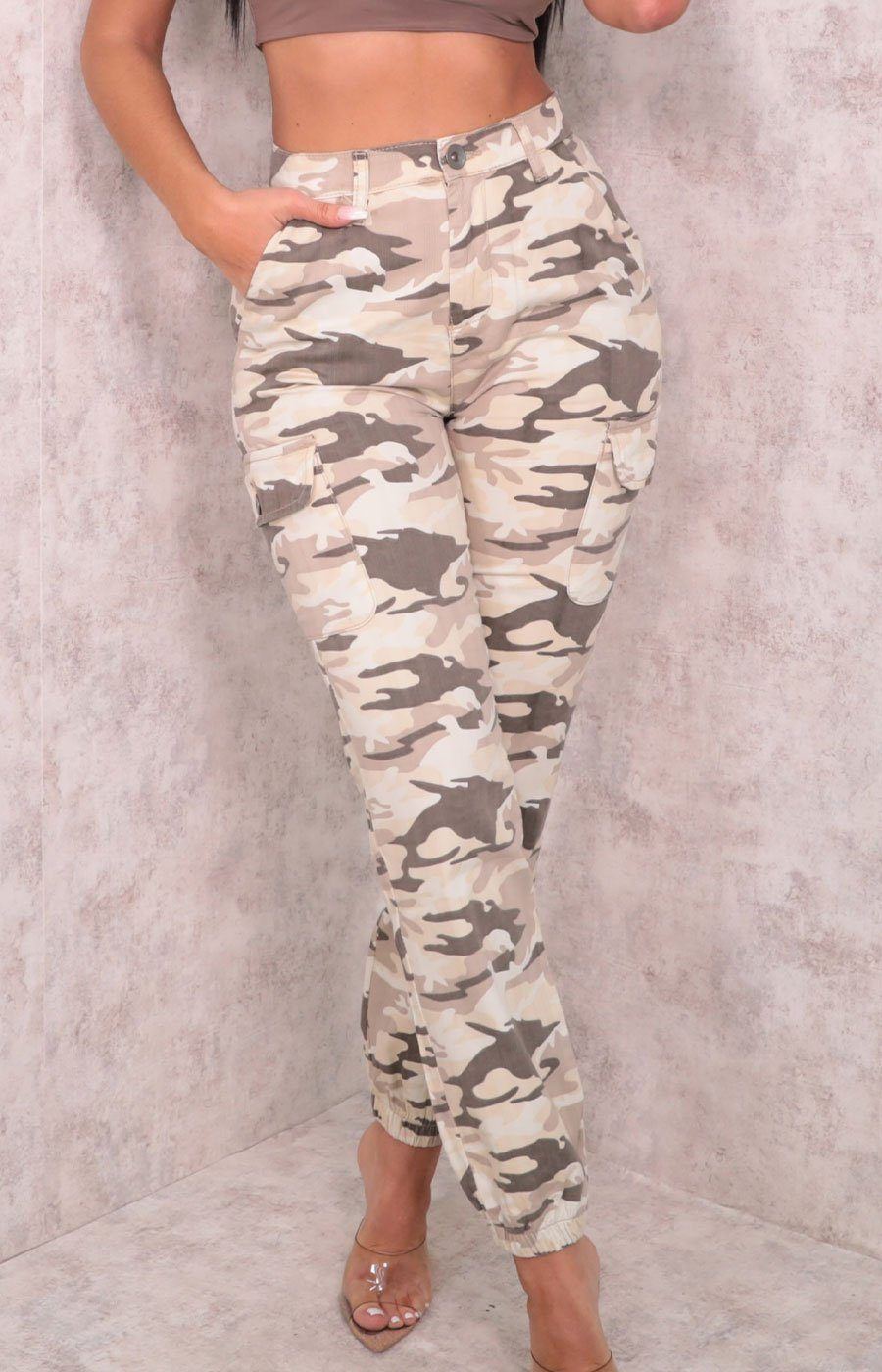 Brown Camo Print Elasticated Trousers - Casandra