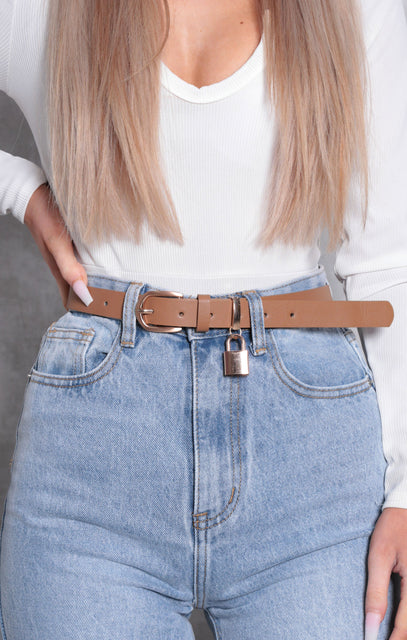 Brown Faux Leather Padlock Thin Belt - Molly