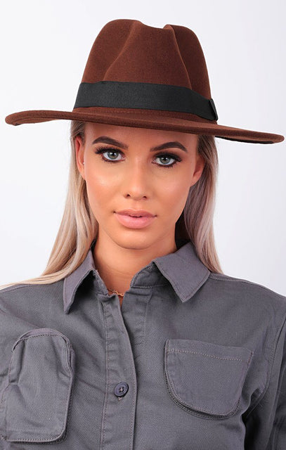 Brown Fedora Felt Ribbon Hat - Mazie
