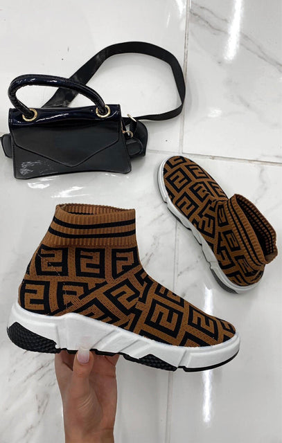 Brown Geometric Sock Boots - Carly