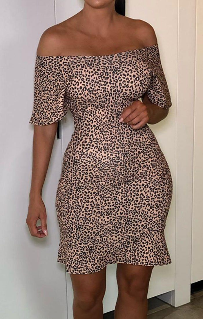 Brown Leopard Print Cross Back Bodycon Dress - Isabel