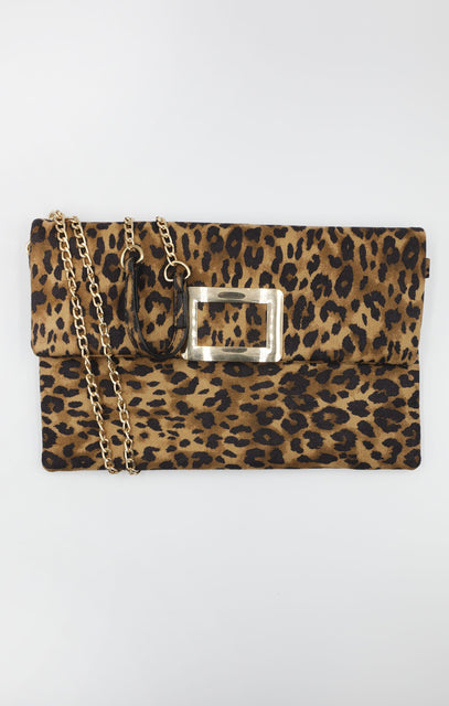Brown Leopard Print Gold Buckle Clutch Bag - Gloria