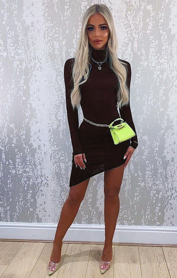 Brown Long Sleeve High Neck Split Bodycon Dress - Sabrina