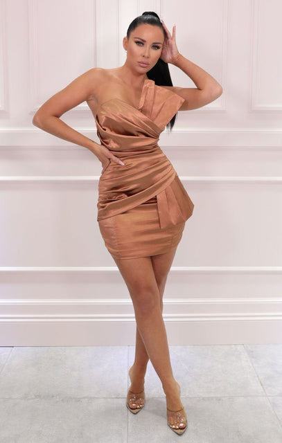 Brown Pleated Wrap Strapless Bodycon Mini Dress - Aliyah