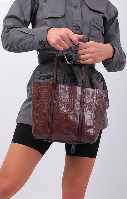 Brown PU Croc Mini Tote Bag - Cassandra
