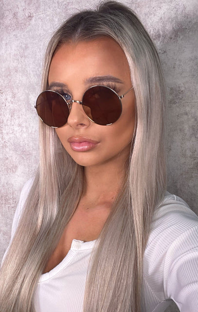 Brown Round Reflective Sunglasses - Lucy