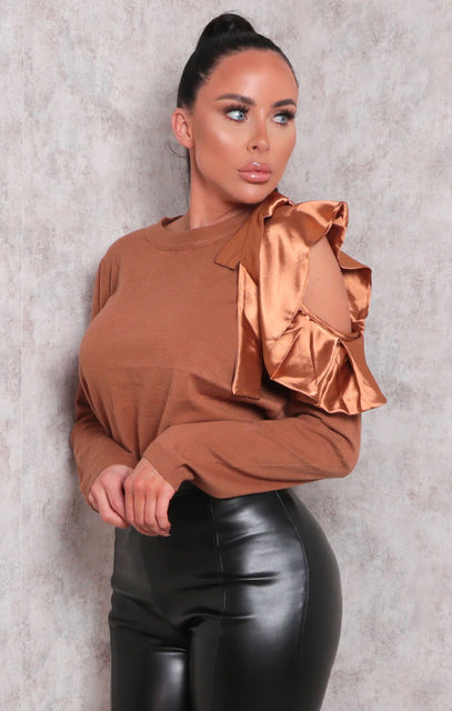 Brown Satin Ruffle Cut Out Fleece Top - Nadia