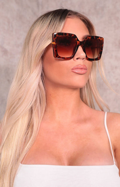 Brown Tortoiseshell Oversized Square Sunglasses - Tilly