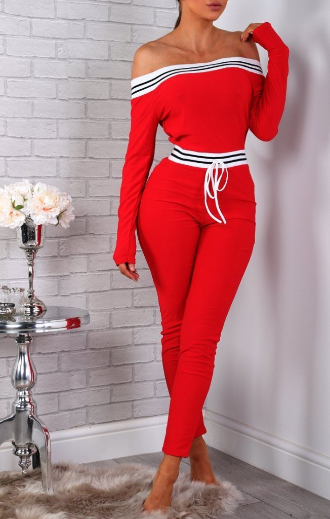 Red Stripe Detail Lounge Jumpsuit