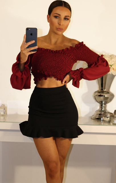 Wine Bardot Ruched Sleeve Crop Top