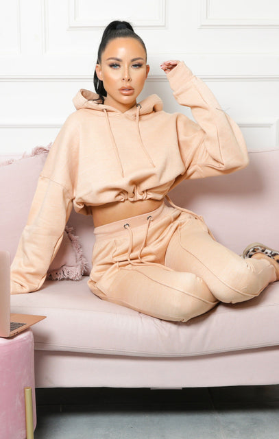 Camel Boxy Cropped Hoodie Cuffed Joggers Loungewear Set - Cailleigh