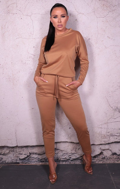 Camel Long Sleeve Loungewear Set - Dua