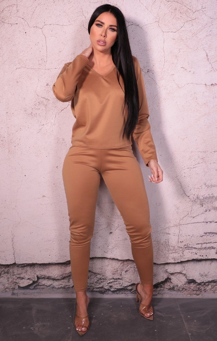Camel Long Sleeve V Neck Leggings Loungewear Set - Acadia