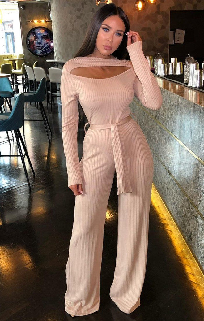 Camel Ribbed Cut Out Jumpsuit - Serena