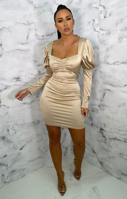 Camel Satin Puff Sleeve Bodycon Mini Dress - Winona