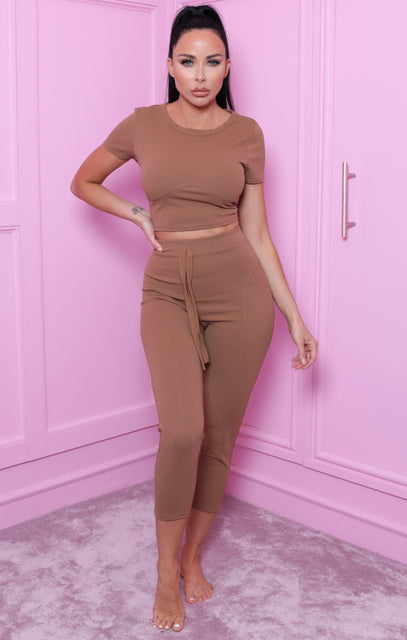 Camel Seam Detail Crop Top Co-ord - Bardia