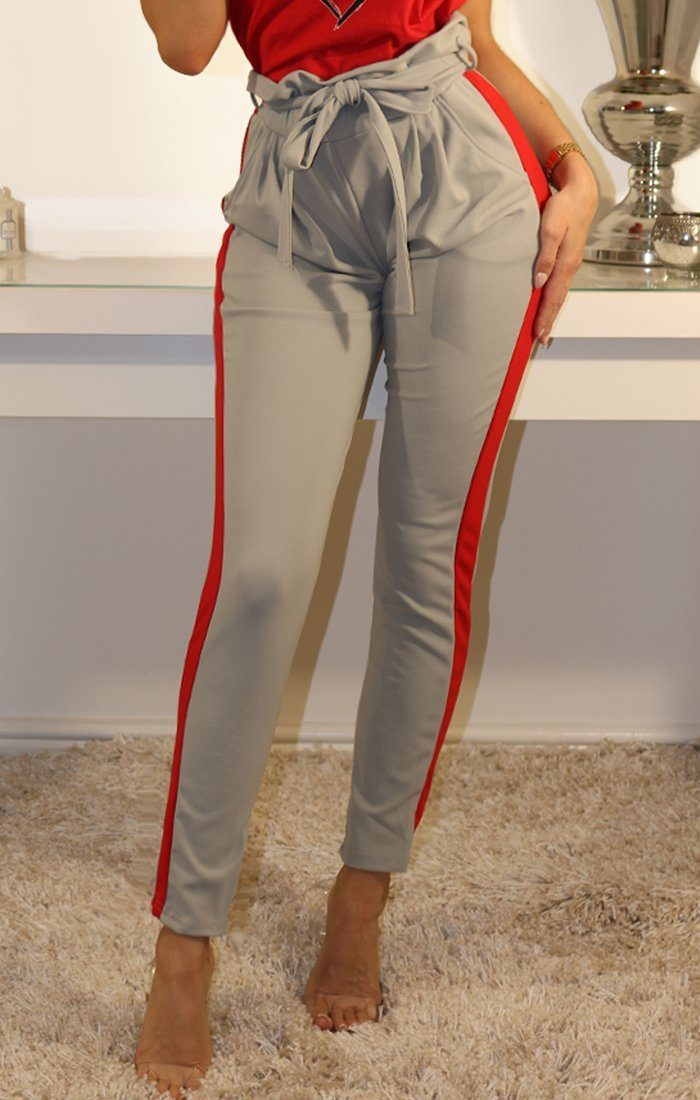 Grey Stripe Detail Trousers