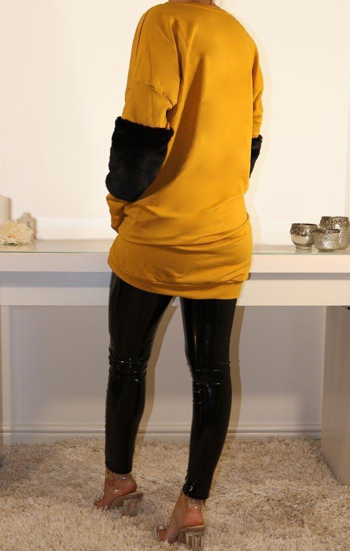 Mustard Oversized Faux Fur Panel Jumper Dress