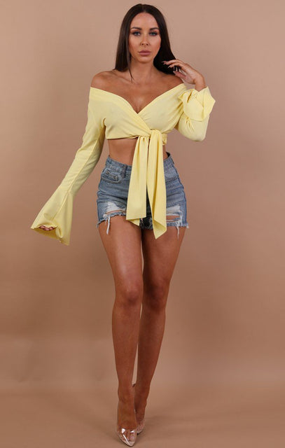 Yellow Front Wrap Bell Sleeve Crop Top - Abbygail