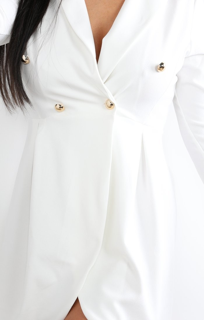 White Button Embellished Blazer Dress