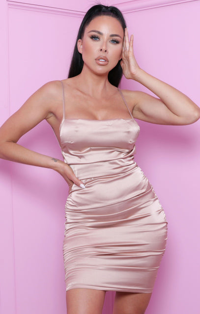 Champagne Satin Ruched Strappy Bodycon Mini Dress - Shiloh