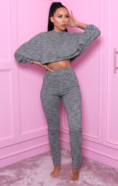 Charcoal Marl Ribbed Cropped Loungewear Set - Romina