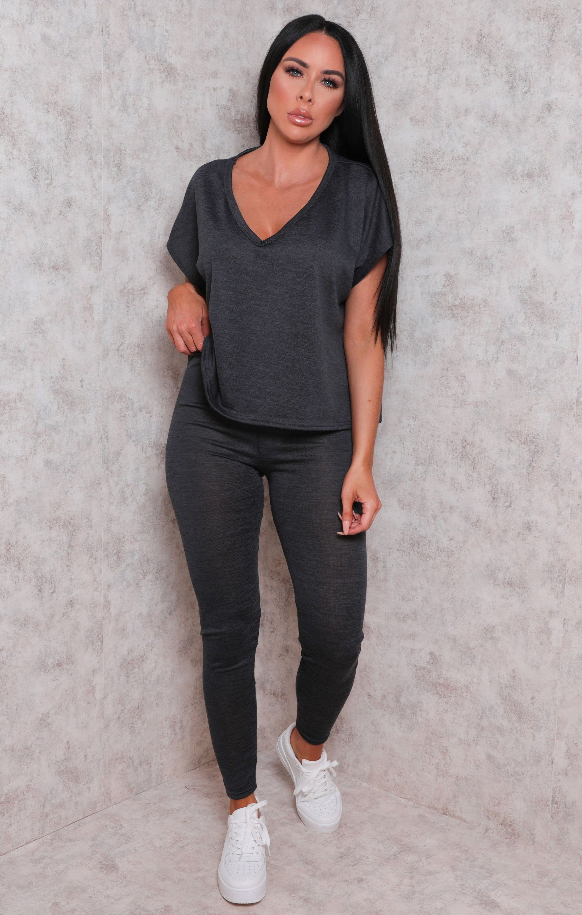 Charcoal V-Neck Short Sleeve Leggings Loungewear Set - Gala