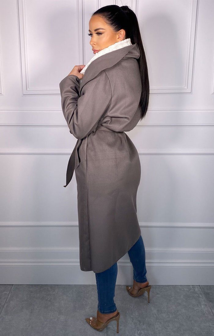 Charcoal Waterfall Duster Belted Long Coat