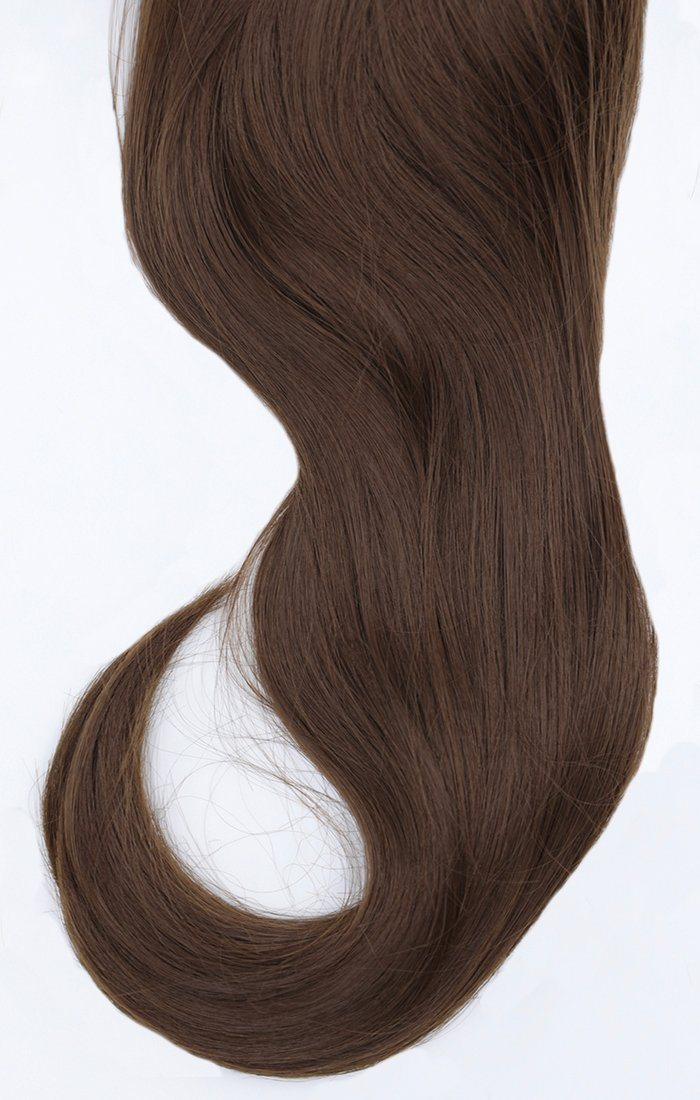 "Chestnut Thick 20"" Synthetic Drawstring And Clip Straight Ponytail - Koko"