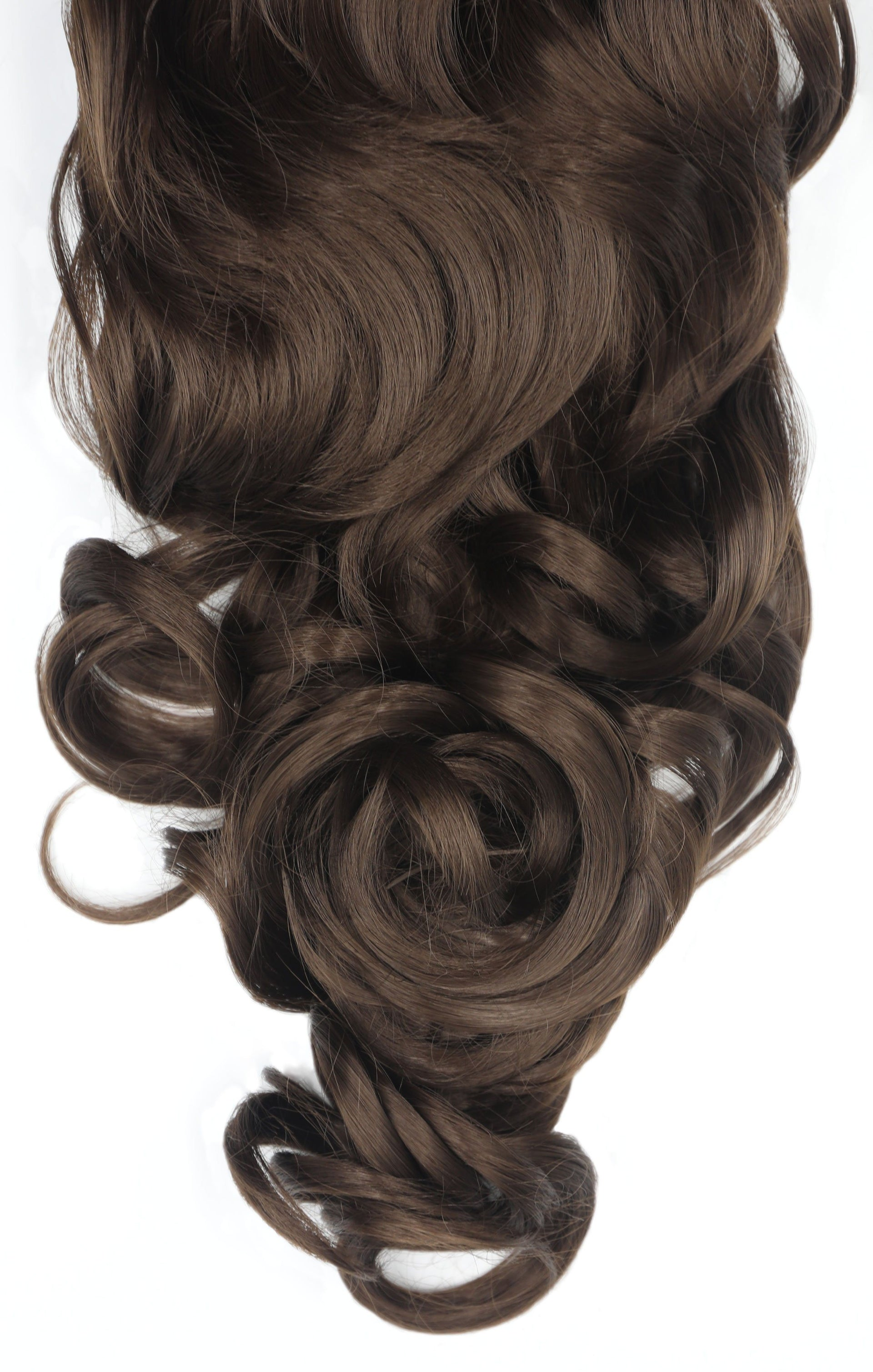 "Chocolate Brown 20"" Synthetic Drawstring And Clip Curly Ponytail - Naomi"