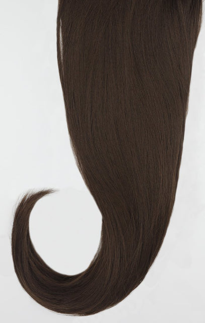 "Chocolate Brown 24"" Synthetic Straight Hair Extensions Clip In Piece - Auora"
