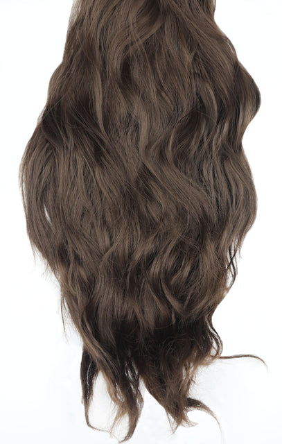 "Chocolate Brown Thick 20"" Synthetic Clip In Wavy Hair Extensions Set - Loren"