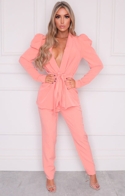 Coral Oversized Belted Blazer & Slim Leg Trousers Co-ord - Kama