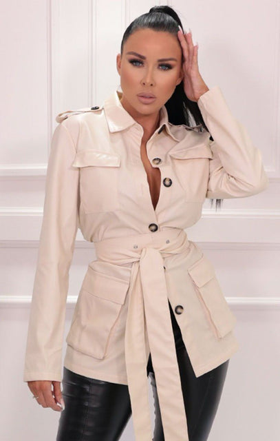 Cream Belted Utility Collar Jacket - Alain