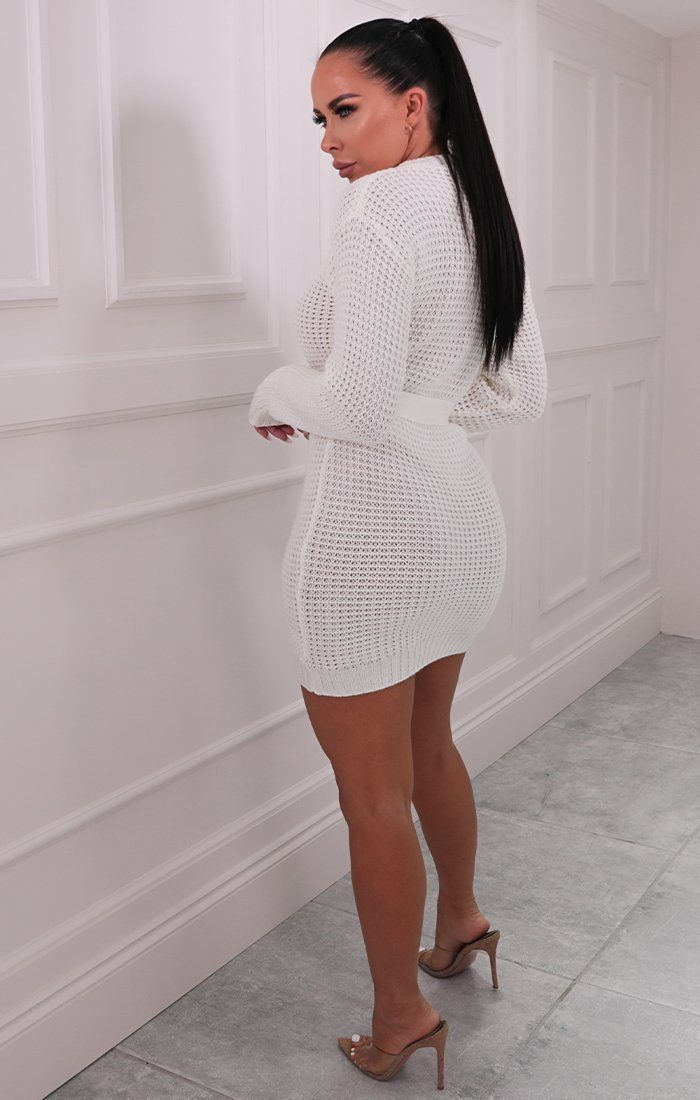 Cream Knitted Belted Mini Jumper Dress - Peach