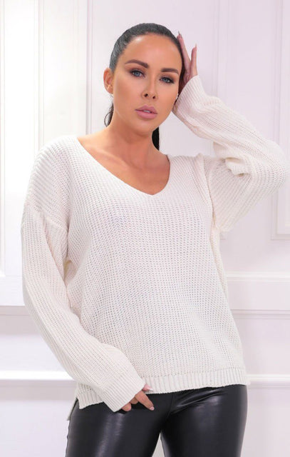 Cream Knitted V Neck Long Sleeve Jumper - Noah