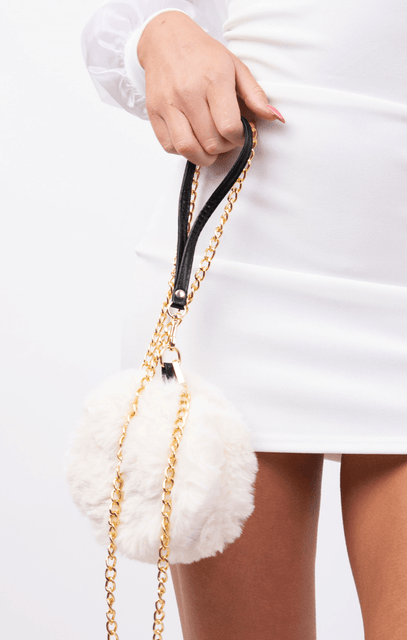 Cream Mini Fluffy Gold Chain Bag - Simone