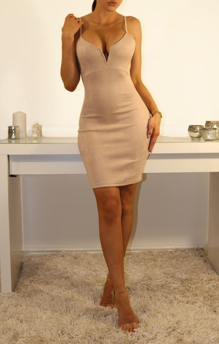 Nude Suede V Bar Bodycon Dress