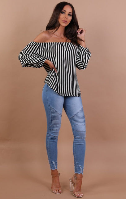 Striped Bardot Ruched Sleeve Top - Lenna