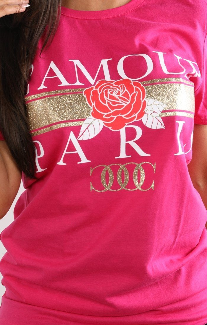 Pink L'amour Paris Slogan T-shirt - Kiera