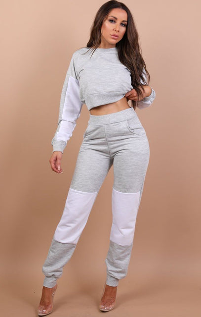 Grey And White Patched Loungewear Set - Lucy