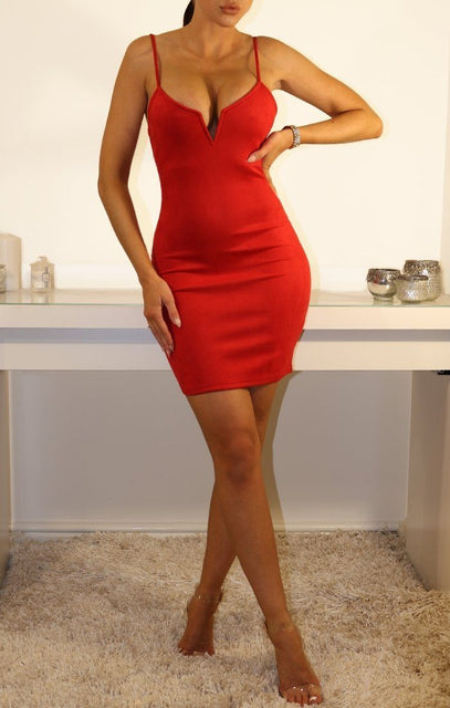 Red Suede V Bar Bodycon Dress