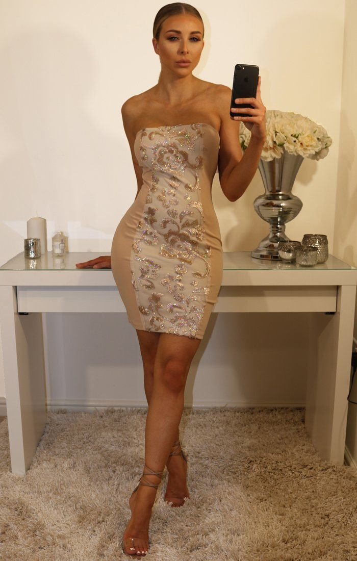 Nude Sequin Bandeau Bodycon Mini Dress